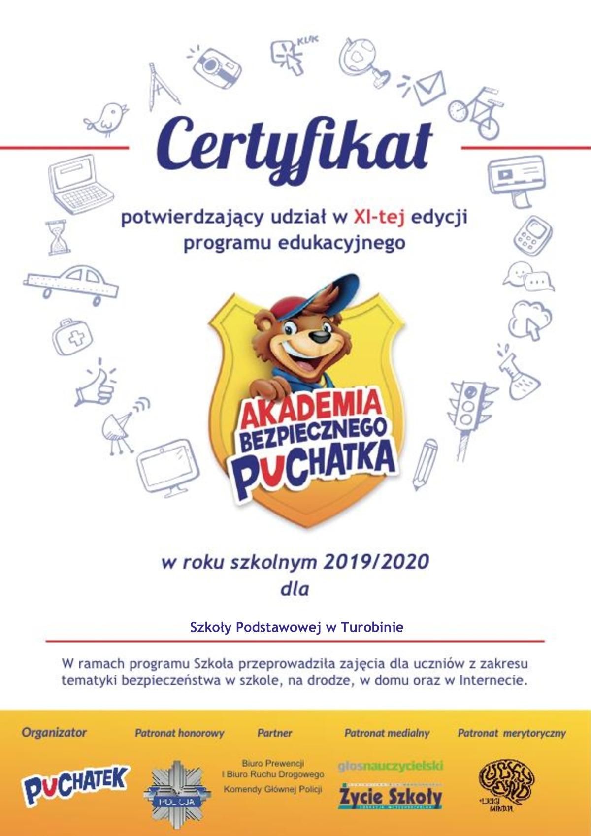 Certyfikat Akademii Bezpiecznego Puchatka