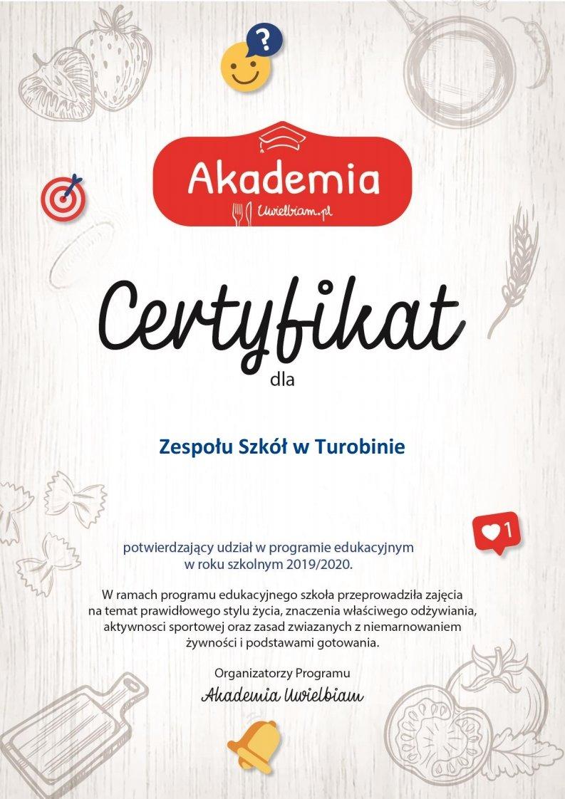 Certyfikat Akademia Uwielbiam